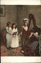 Woman playing a harp while girls sing