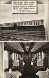 L&N.W.R 34th dining saloons - train car in one picture, dining car interior in the other