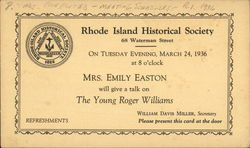 Invitation to a speech about the Young Roger Williams by Mrs, Emily Easton