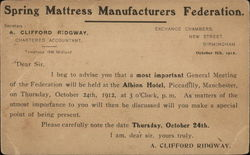 Clifford Ridgeway, Spring Mattress Manufactures Federation