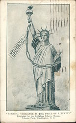 "Statue of Liberty With a Chain and Sign that Reads ""Religious Despotism"""