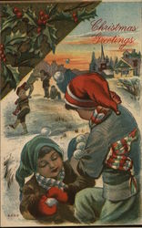 Christmas Greetings - children playing in snow