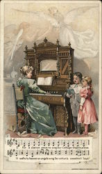 Woman playing the piano for singing children - Chicago Cottage Organs