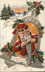 A Merry Xmas Sister's Delight - Santa filling a stocking