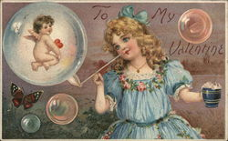 To My Valentine - girl blowing bubbles with a cupid inside