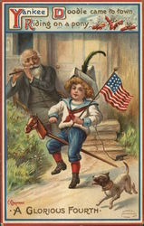 Yankee Doodle came to town riding on a pony - a glorious fourht - boy playing patriotically
