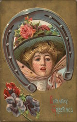 Birthday Greetings - women framed by a horseshoe with flowers