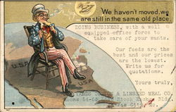Uncle Sam in a chair on a map of the US - We haven't moved, we are still in the same old place