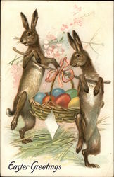Two Rabbits Carrying an Easter Basket on a Stick