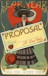 Leap Year Proposal - OK Dan Cupid Will You accept this? - Woman posing with proposal