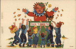 Giant Clown Throwing Tickets to a Group of Children With Arms Outstretched