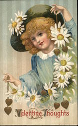 Valentine Thoughts - girl with daisies and a heart necklace