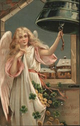 Blond Female Angel Ringing Large Bell