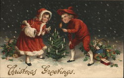 Christmas Greetings - children decorating a tree
