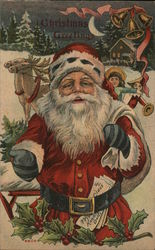 Christmas greetings - santa with toys and Christmas letter