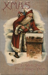 Xmas to wish you many happy days - Santa at the chimney