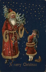 A Merry Christmas - children with Santa, who is carry a Christmas tree