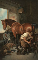 Boy shoeing horses