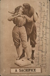 A Sacrifice - couple in baseball gear kissing