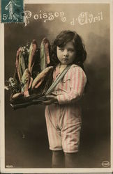 Poisson d'Olvril - child with a basket of fish