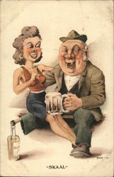 """Skaal"" - man with peg leg propped on a bottle and a woman on his lap drinking"