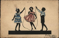 Three Silhouette Girls in Dresses Playing With a Jump Rope