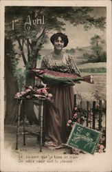 1st Avril - woman with fish