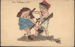 """J'etais boche pour rire!"" - Boy with Rifle Pulling Hair of Girl with Sword"