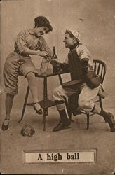A High Ball - baseball player drinking with a woman