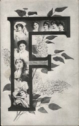 Faces in a large letter F with lilacs surrounding