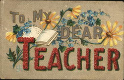 To my dear teacher - surrounded by flowers with a book
