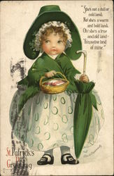 St. Patrick's Day Greeting - Irish girl with a basket and umbrella