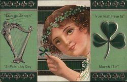 girl holding a clover next to an Irish Harp and another clover