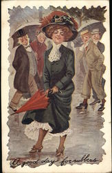 A Good Day for Rubbers - Men staring at a beautiful woman with an umbrella in the rain