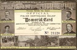 Official Italian Earthquake Relief Memorial Card