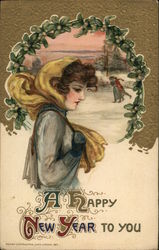 A Happy New Year to you - woman with scarf in front of ice skaters