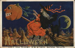 Halloween - witch riding a broom at night with a jack o lantern