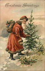 Christmas Greetings - Santa cutting a tree in the snow