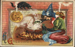 Halloween Greetings - witch in front of a fireplace with a cauldron, black cat and jack o lantern