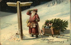 Santa Scrutinizing Directional Sign with Sleigh Full of Toys