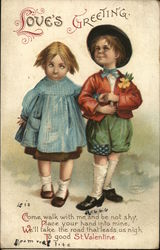 Love's Greeting - boy and girl walking arm in arm