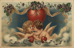Cupids kissing in the clouds under a heart with garland