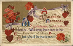 A Valentine Message - Hearts and flowers with ribbons