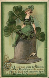 Woman dressed in green sitting on a hat with clover