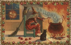 Halloween - Witch at a cauldron the fireplace with a black cat, a jack o lantern and devils