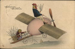 Frohliche Ostern - rooster flying an egg plane with a chick
