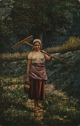 Girl with lunch pail and rake in the field