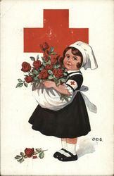 child red cross nurse holding roses in her apron