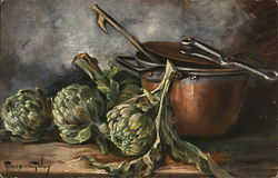 Still Life of Artichokes and Steamer by Mary Golay