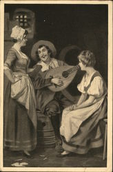 Girls listening to a man playing the lute Postcard